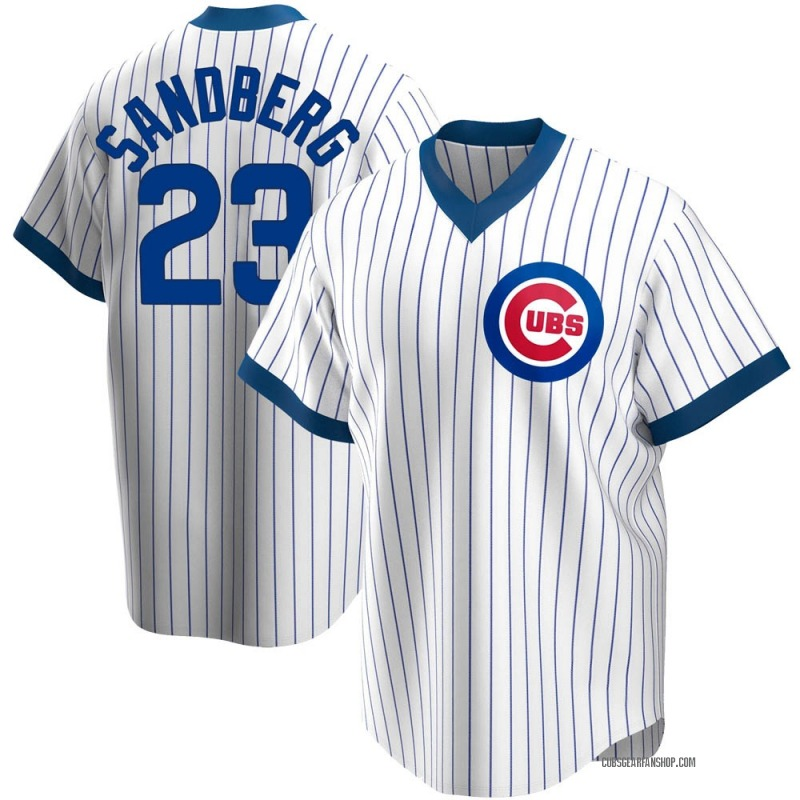 Men's Ryne Sandberg Chicago Cubs Replica White Home Cooperstown Collection Jersey