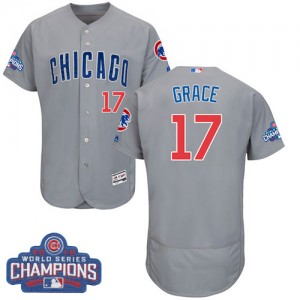 Men's Majestic Mark Grace Chicago Cubs Authentic Grey 2016 World Series Champions Flexbase Collection Jersey