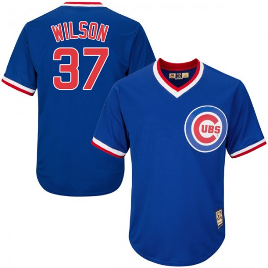 Youth Majestic Justin Wilson Chicago Cubs Player Replica Royal Blue Cool Base Cooperstown Collection Jersey