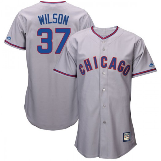 Youth Majestic Justin Wilson Chicago Cubs Player Replica Gray Cool Base Cooperstown Collection Jersey