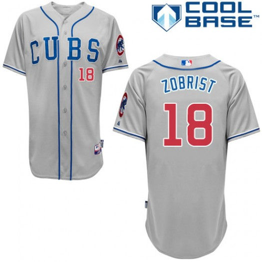 Men's Majestic Ben Zobrist Chicago Cubs Authentic Grey Alternate Road Cool Base Jersey
