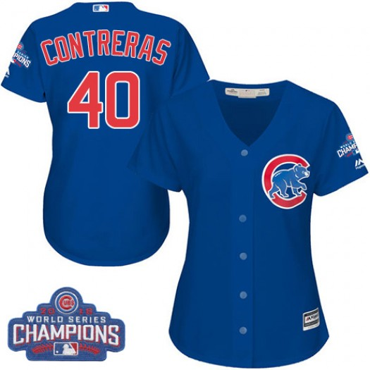 Women's Majestic Willson Contreras Chicago Cubs Authentic Royal Blue Alternate 2016 World Series Champions Cool Base Jersey
