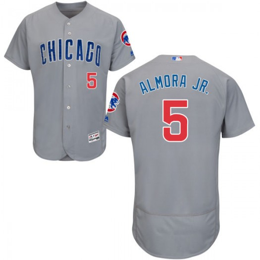 Men's Majestic Albert Almora Jr. Chicago Cubs Player Replica Gray Road Flex Base Collection Jersey